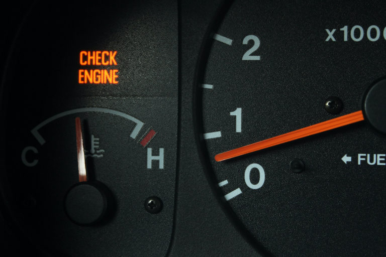 closeup of speedometer