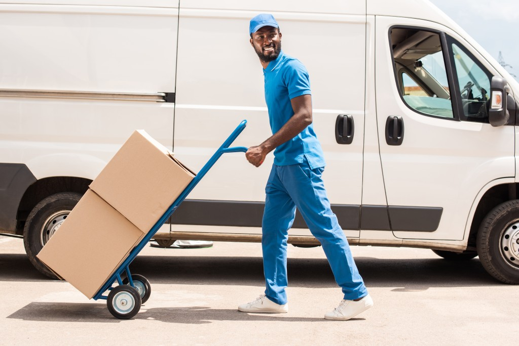delivery van with delivery man