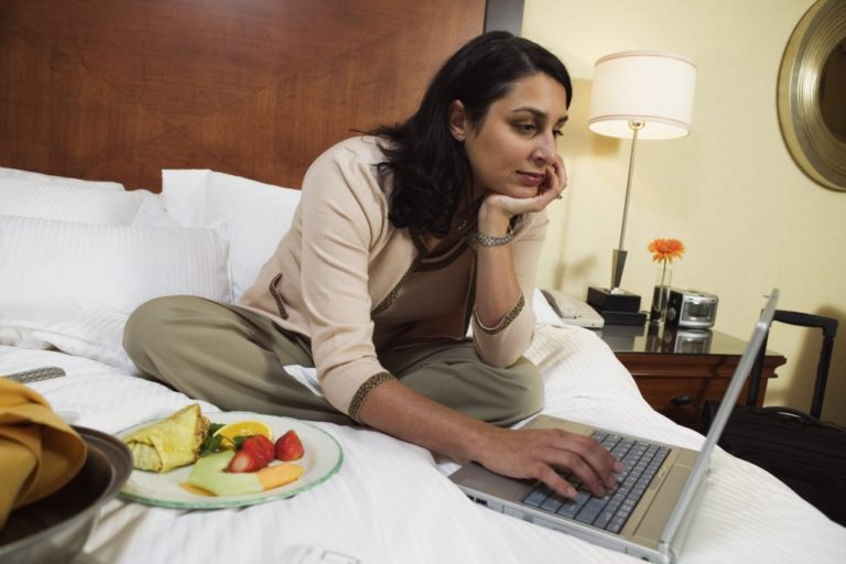 woman working at the hotel