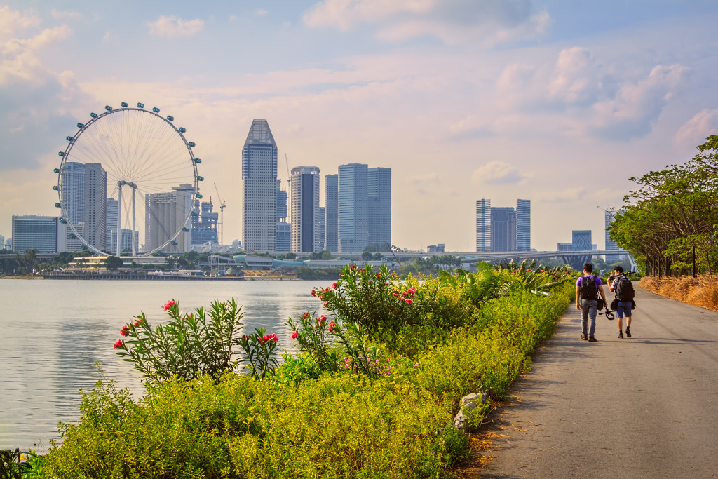 Walking On The Way For Sightseeing In Singapore City