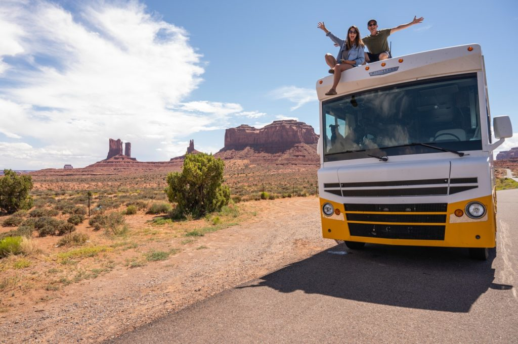 couple at the top of a RV