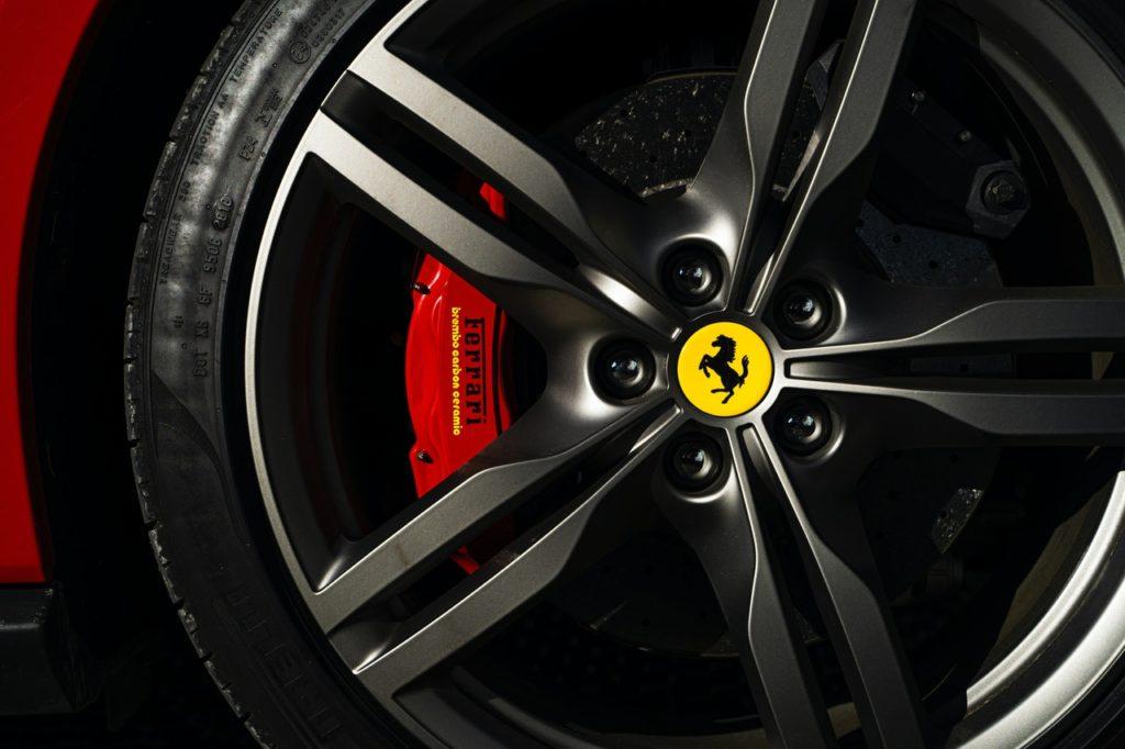 the wheel of a Ferrari